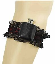 Black Garter With Hip Flask Ladies Fancy Dress Costume Accessory Novelty Hen