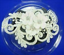 David's Bridal Head Piece Collection Faux Pearl & Rhinestones Lace Hair Clip