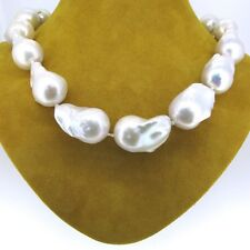 NATURAL SOUTH SEA 23-26mm BAROQUE PEARL 14K GOLD CLASP NECKLACE 19''