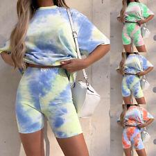 Women T-shirt  Shorts Tracksuit Gradient Lounge Wear Summer Tie Dye Co Ord Set u