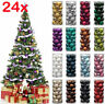 24Pcs Glitter Christmas Baubles Ornament Ball Home Party Xmas Tree Decor 3cm Vv