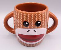 Galerie DOUBLE SIDED GRAY SOCK MONKEY Ceramic Coffee Tea Cocoa Mug Cup 16 oz