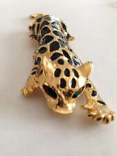 Leopard with Green Crystal Eyes Shoulder Pin Brooch - LOVELY!