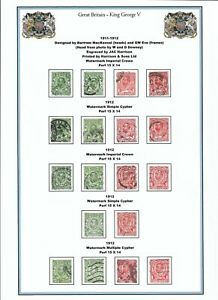 GB King George V stamps - a page of Mackennals