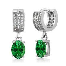 4.63 Ct Oval Green Simulated Emerald 925 Sterling Silver Dangle Earrings