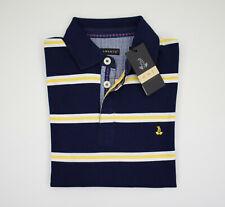 Polo Bramante Slim Fit in Cotone Blu a righe Giallo e Bianco Taglia S Saldi