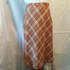 Sag Harbor Women's Skirt Size 14 Petite Tan Red Black Diagonal Plaid