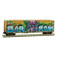 RailBox 50' Ribside Boxcar SmokeOut Day Weathered/Graffiti MTL#02544567 N-Scale