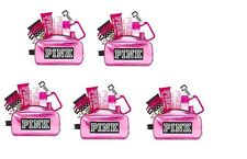 5 SETS VICTORIA'S SECRET PINK FRESH & CLEAN MAKEUP BAG COSMETIC LUGGAGE TAG HAIR
