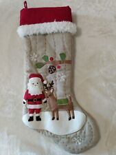 POTTERY BARN KIDS natural SANTA & REINDEER handwoven CHRISTMAS STOCKING