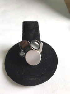 Christophe Poly Chrono Silver and Grey  Circles  Ring size 8