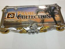 3 D PIRATE CHROME GOLD METAL AUTO CAR LICENSE PLATE FRAME  LPF-7961