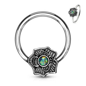 1pc Opal Glitter Centered Flower Surgical Steel Captive Bead Ring / Nipple Ring