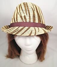Chocolate Brown Zebra Print Short Brim Straw Fashion Fedora Trilby Hat One Size
