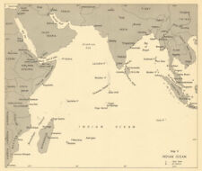 Indian Ocean 1942. World War 2 1961 old vintage map plan chart