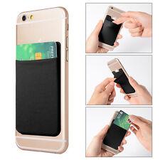 2x Lycra Phone Stick On Wallet Credit Card Holder Adhesive Black fr iPhone AC418