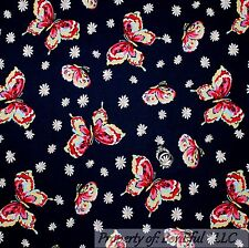 BonEful Fabric Cotton Quilt Navy Blue Red White Yellow BUTTERFLY Flower 99 SCRAP