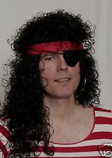 Peluca pirata mosquetero negro con rizos Edad Media Rol en vivo NUEVO