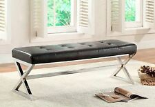 Black Bonded Leather Bench Ottoman