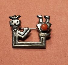 Antique Unmarked Native American Sand Cast Sterling Silver Yei Pin Coral 7g