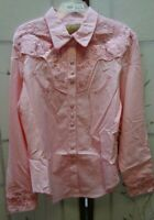 Scully Western Cow Girl Rodeo Shirt Pearl Snaps Embroidered Womens (C-52