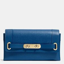 Mothers Day Gift ** COACH SWAGGER WALLET PEBBLE LEATHER f53028 Blue EUC. $250.