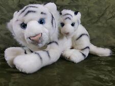 MIYONI by AURORA WHITE PLUSH TIGER w/ BABY CUB 20'' EUC
