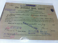 ALLAHABAD BANK CALCUTTA EQ STOCK SHARE CERTIFICATE REV EMBOSS INDIA 1948