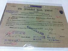 ALLAHABAD BANK CALCUTTA EQ STOCK SHARE CERTIFICATE REV EMBOSS INDIA 1948