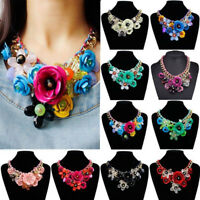 Women Crystal Flower Bib Necklace Chunky Collar Chic Chain Fashion Jewelry Gifts