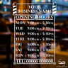 Opening Times Hours Personalised Custom Barber Shop Window Wall Sign Sticker
