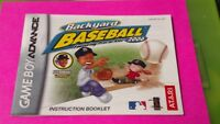 Backyard Baseball 2006 Nintendo Game Boy Advance Instruction MANUAL ONLY No Game