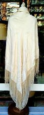 PIANO SHAWL. SILK EMBROIDERED BY HAND. CLEAR BONE COLOR. SPAIN. XIX CENTURY