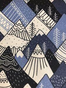 Large Fat Quarter Little Johnny Digital Snowy Mountains 100% Cotton Fabric