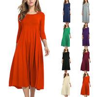Women Long Sleeve Shirt Long Maxi Boho Dress Casual Swing Skater Midi Dress 13