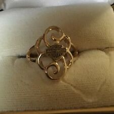 Harley Davidson Ring Stamper With Swirls Size 9 10k Yellow Gold