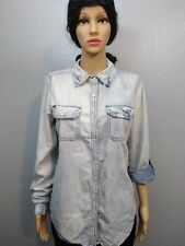 Vanity Women's Denim Long Sleeve Button Down Shirt Light Blue size L 100% Cotton