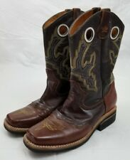 Men's Brown Leather Johnny Carter Vaquero Square Toe Boots sz Mex27/US8