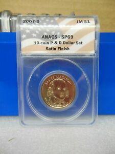 2007-D Madison Golden Dollar Anacs SP69  Satin Finish **A Near Perfect Coin**