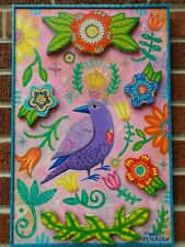 FOLK ART Hand-Painted BIRD Flowers Mexican Southwestern style Art WOOD Plaque