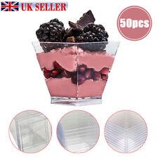 50PCS Square Dessert Cups Mini Cube Plastic 2oz Clear Sample Shot Party Decor