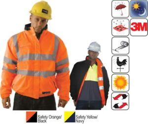 Hi Vis Orange Jacket 5XL Reversible Work Bomber HUSKI Premium Quality