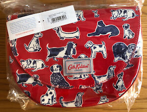 NEW Cath Kidston Squiggle Dogs Mini Saddle Bag Red Oilcloth