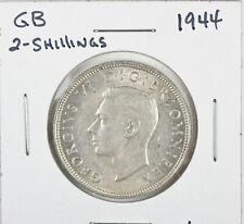 1944 Great Britain Uk Silver 2 Shillings George Vi