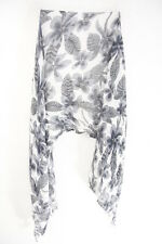 LADIES WHITE/GREY FLORAL PATTERN TASSELLED MOODY TONE TASSELLED SCARF(MS39)