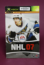 INSTRUCTION BOOKLET/MANUAL ONLY FOR NHL 07 XBOX ORIGINAL (NO GAME) 🥁
