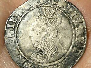 1582-84 Elizabeth I Shilling mm A (54) Hammered Silver Sixth Issue S2577 #LBB2