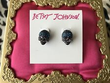 Betsey Johnson Garden Of Excess Blue Lavender Crystal Skull Pewter Stud Earrings