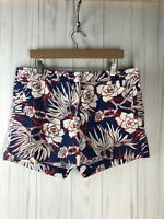 J. Crew Women's Size 12 Cotton Short in Retro Floral Red White Blue GUC