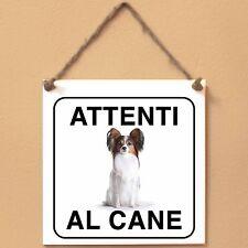 Epagneul nano continentale 2 Attenti al cane Targa cane cartello ceramic tiles